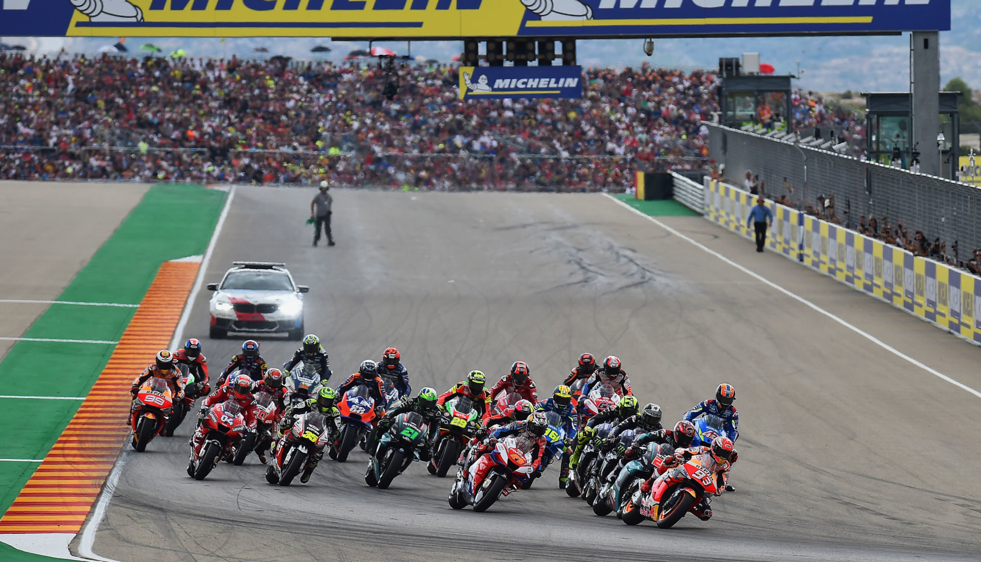 The start of the MotoGP race at Motorland Aragon.