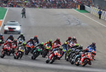 The start of the MotoGP race at Motorland Aragon. Photo courtesy of Michelin,