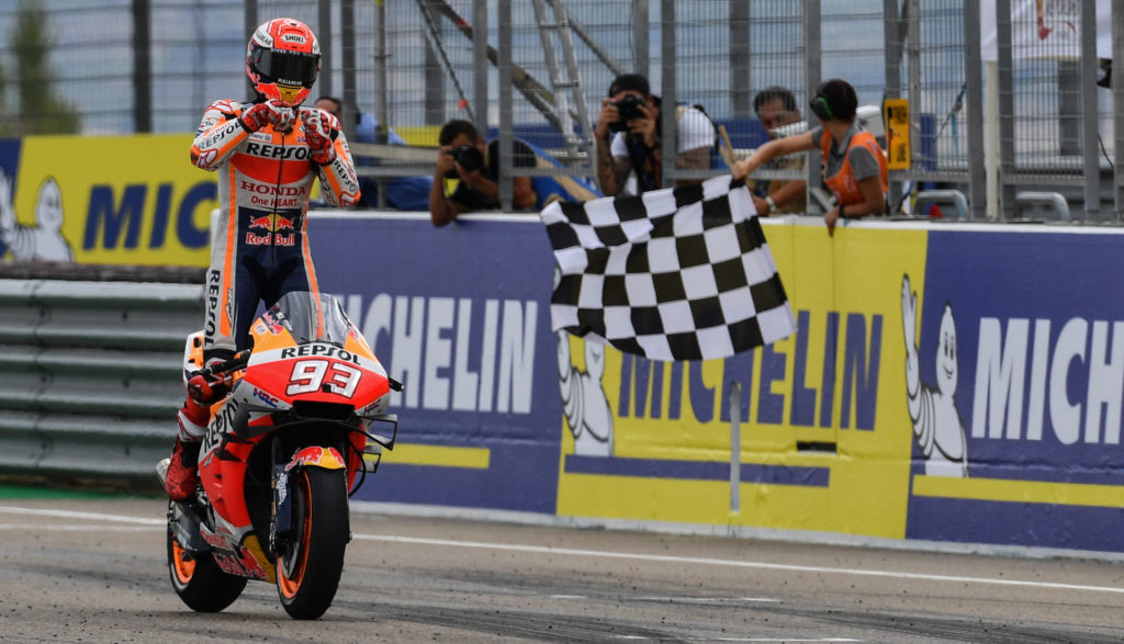 Marc Marquez (93) reeled in another victory, at Motorland Aragon. Photo courtesy of Dorna.