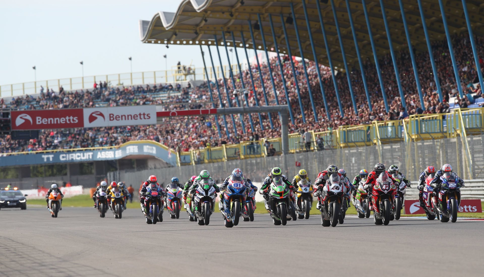 The start of a British Superbike race at Assen. Photo courtesy of MotorSport Vision Racing.