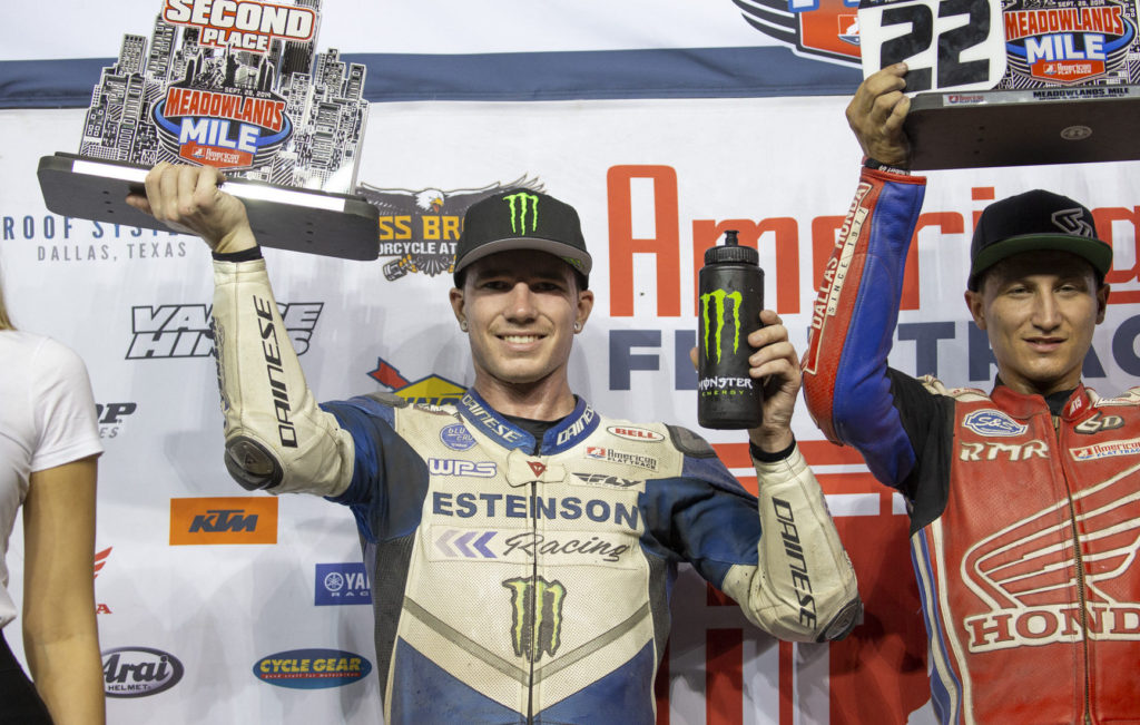 Ryan Wells (left) on the AFT Singles podium with race winner Mikey Rush (right). Photo by Andrea Wilson, courtesy of Estenson Racing.