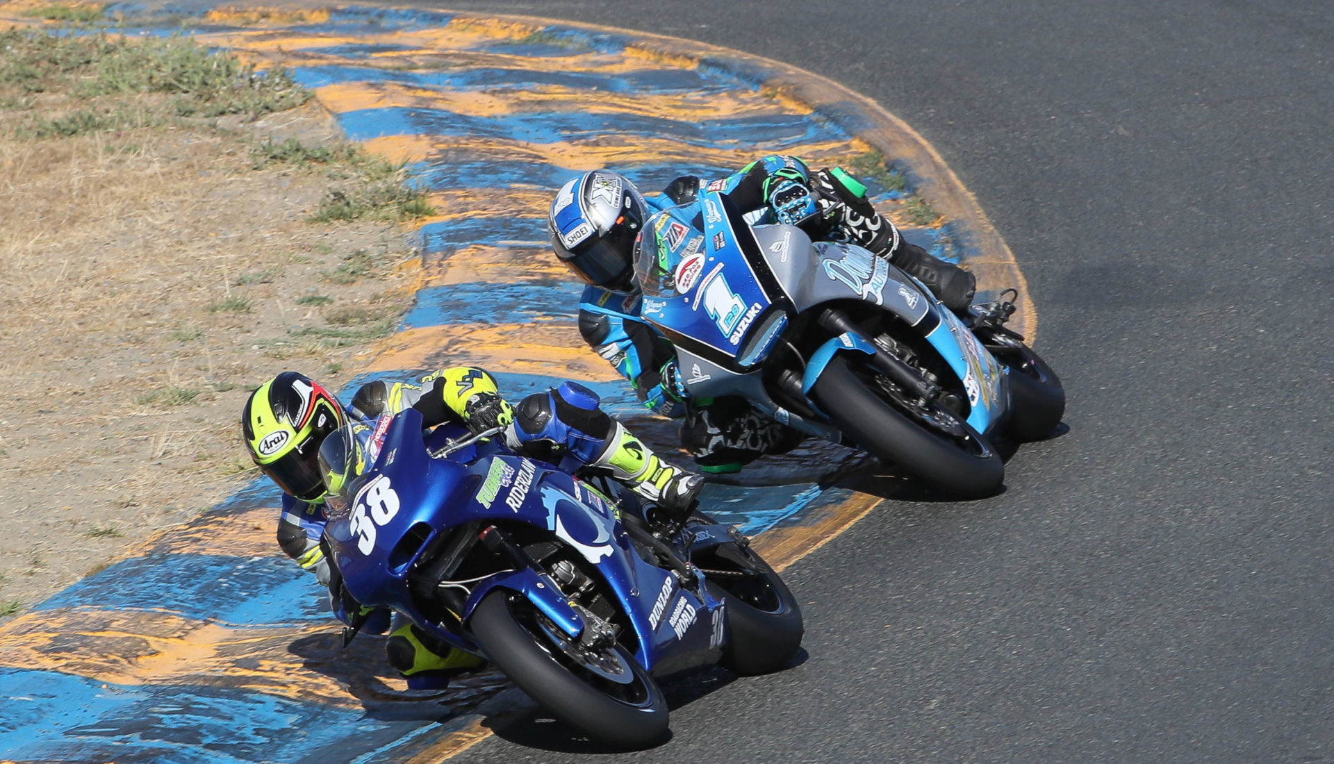 Kris Turner (38), as seen fighting with Chris Parrish (1) during the Twins Cup race at Sonoma Raceway. Photo by Brian J. Nelson.