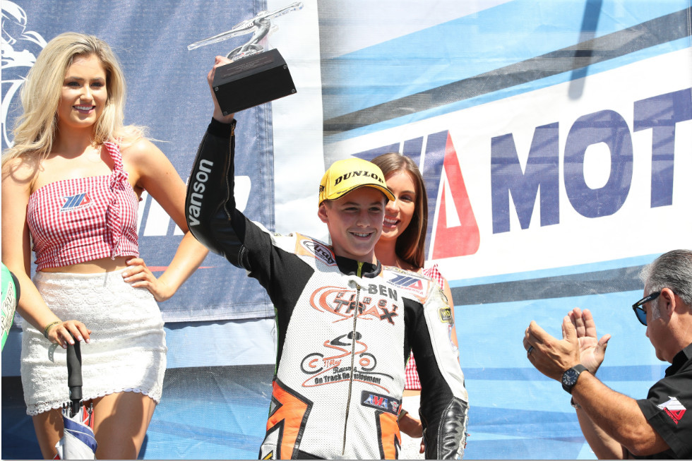 Ben Gloddy on the MotoAmerica Junior Cup podium. Photo by Brian J. Nelson, courtesy of Quarterley Racing On Track Development.