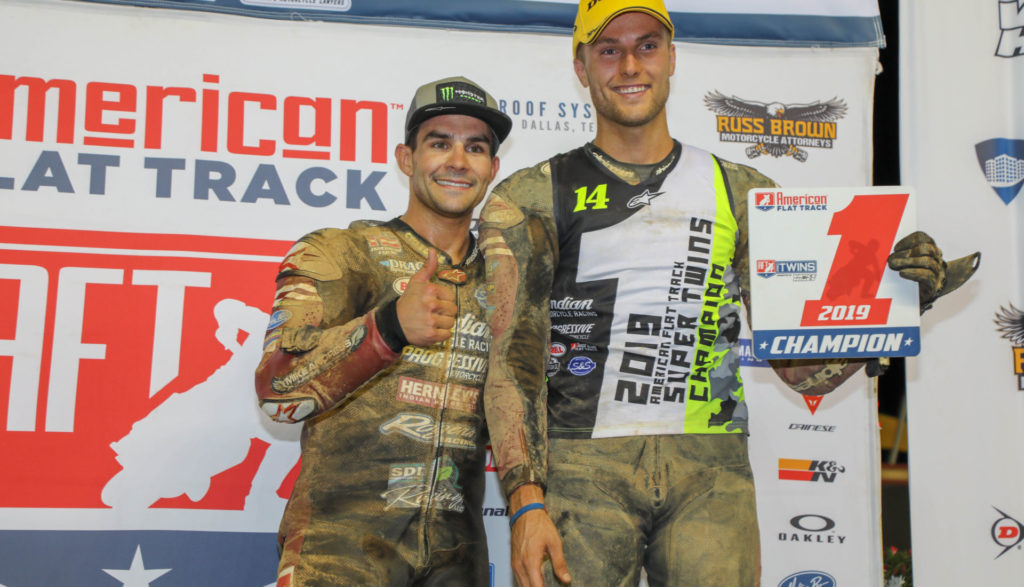 Jared Mees (left), the 2018 AFT Twins Champion, with his teammate Briar Bauman (right), the 2019 AFT Twins Champion. Photo by Scott Hunter, courtesy of AFT.
