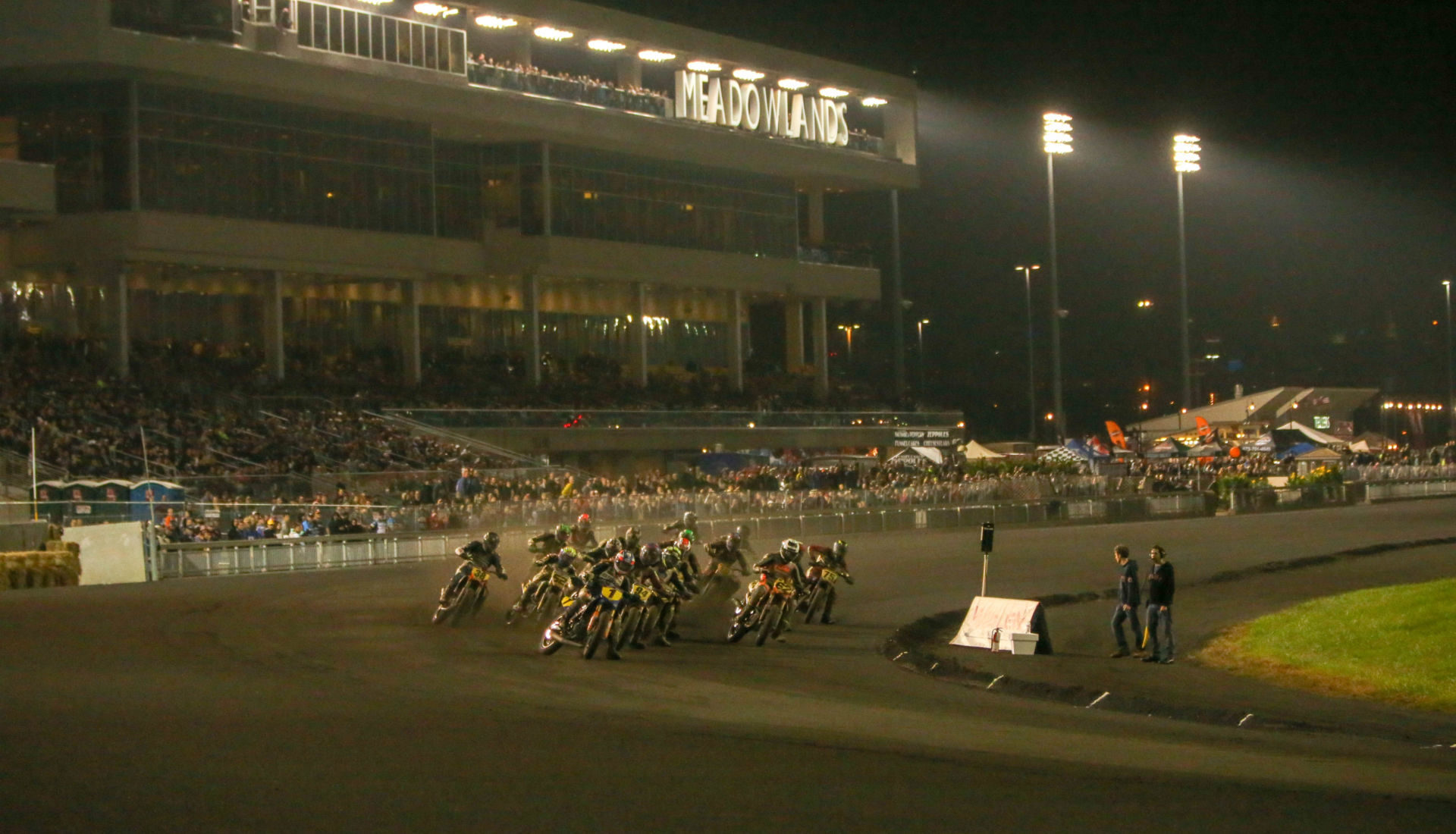 American Flat Track action at the Meadowlands Mile in 2018. Photo by Scott Hunter, courtesy of AFT.