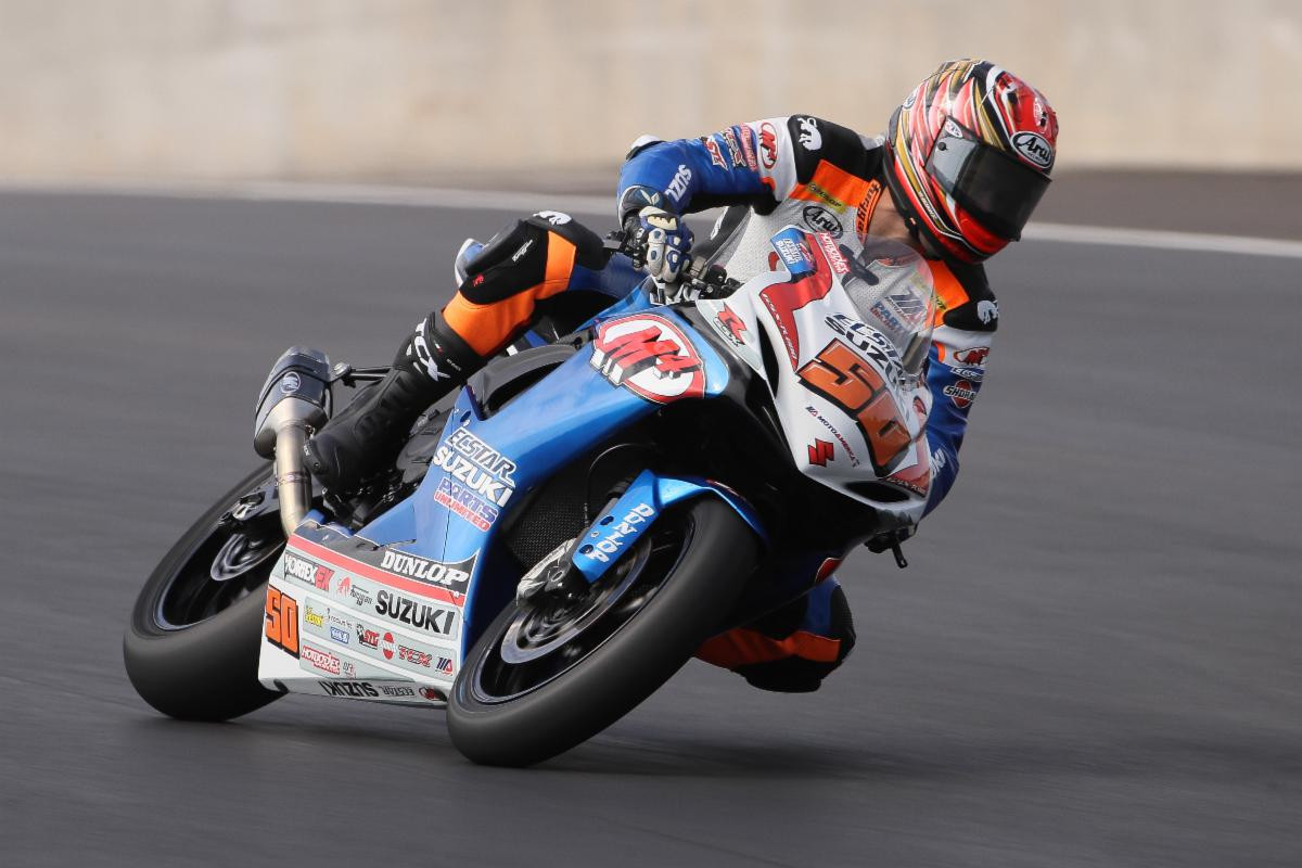 Bobby Fong (#50) earns the 2019 MotoAmerica Supersport Title aboard his Suzuki GSX-R600.