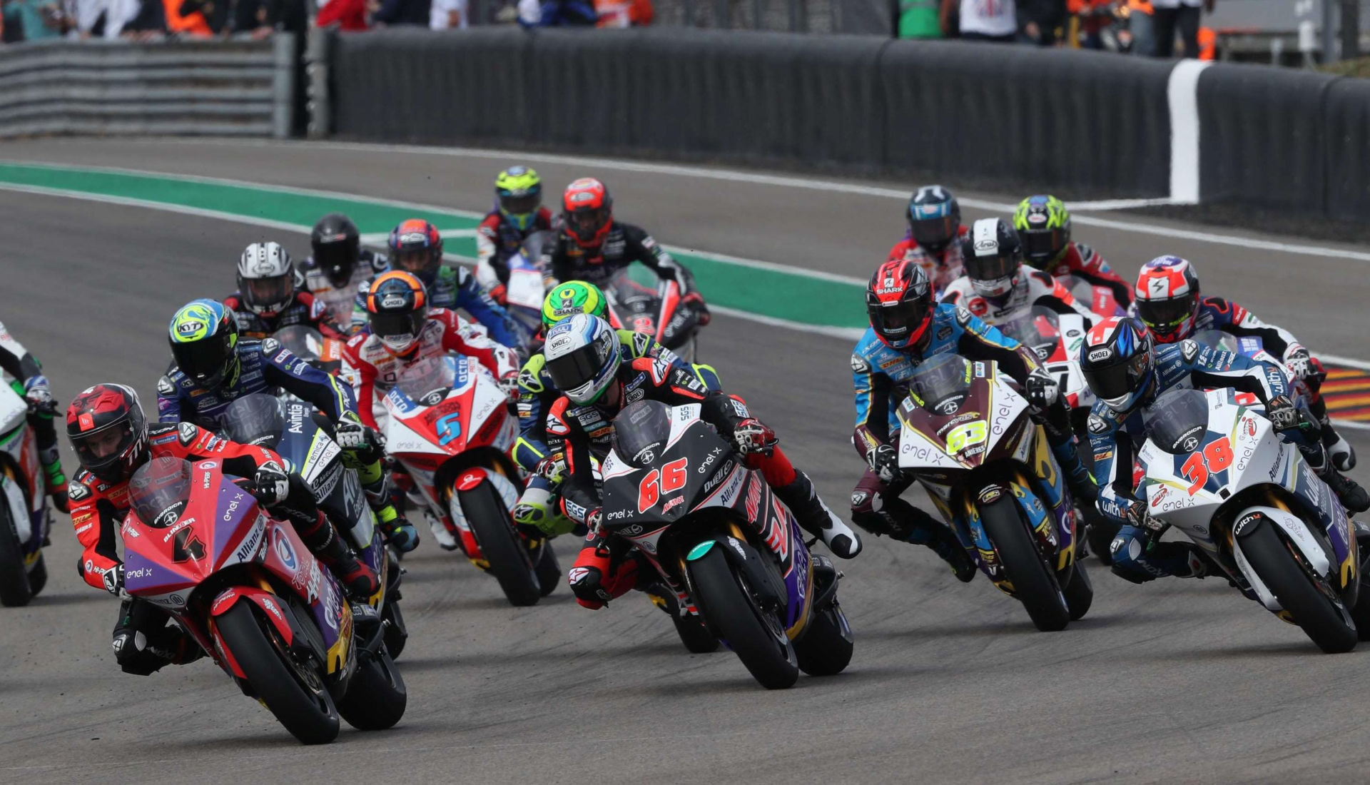 The start of the MotoE race at Sachsenring. Photo courtesy of Dorna.