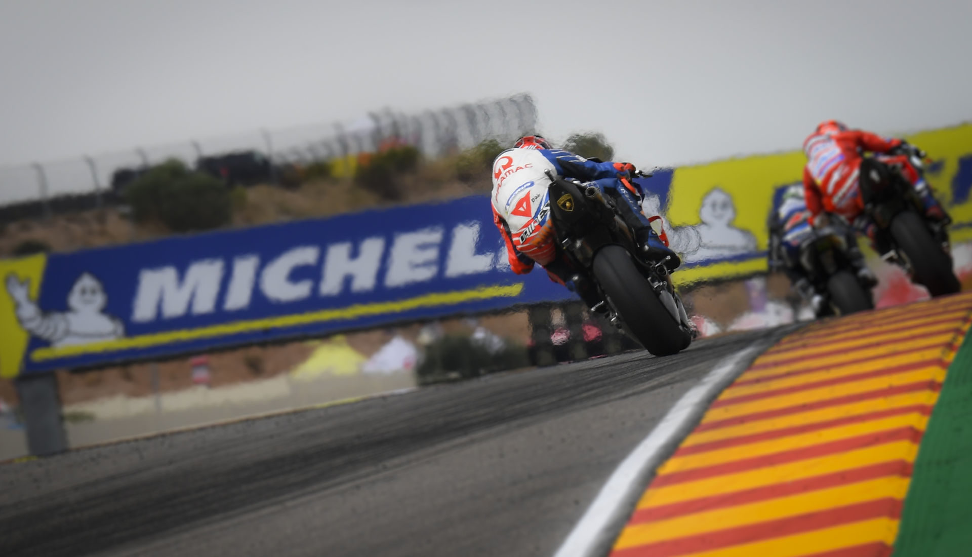 Curbings are part of the racetrack, but the green section to the right of the curbing is beyond the limits of the track at Motorland Aragon. Photo courtesy of Dorna.