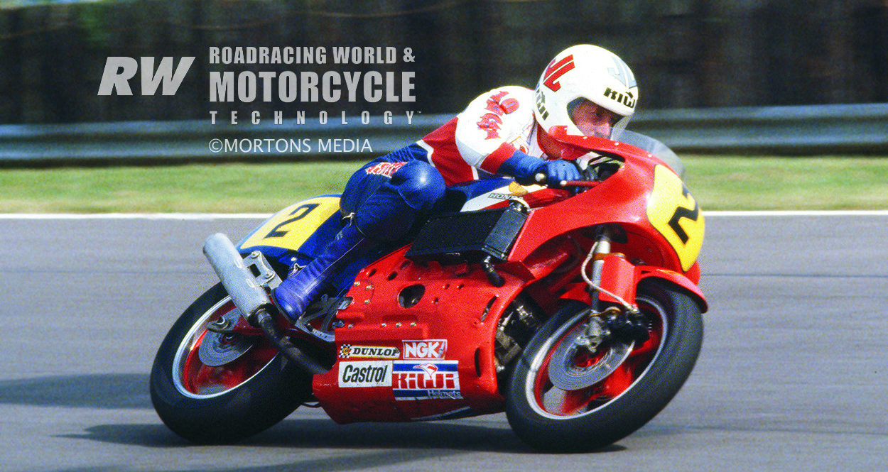 Mick Grant riding the Honda NR500 at Silverstone, during a test session and photo shoot prior to its race debut. The shape of the front fender guided air around the exposed fork springs to the side-mounted radiator intake ducts in the top part of the fairing. Photo courtesy of Mortons Media.