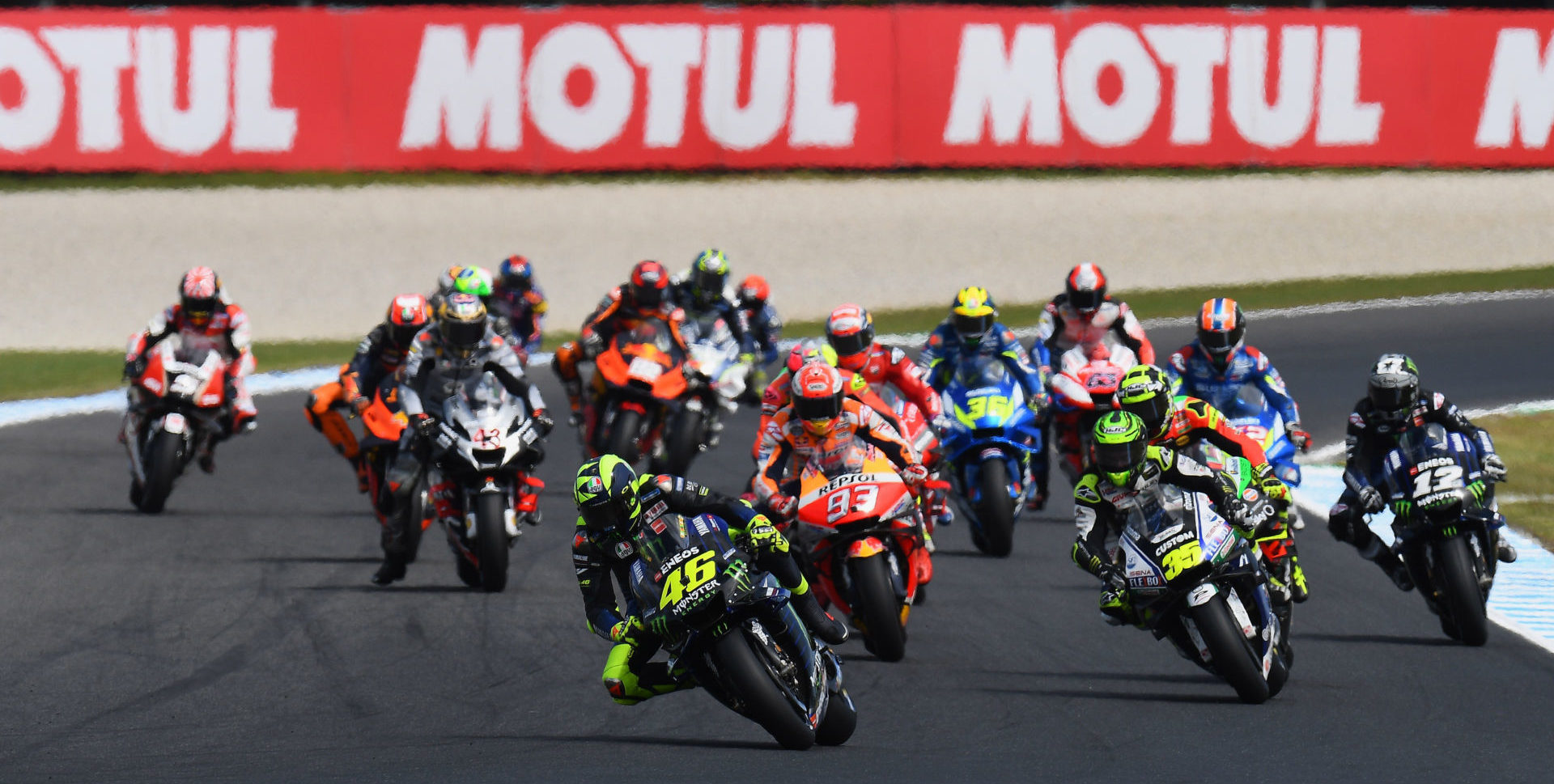 The start of the MotoGP race at Phillip Island. Photo courtesy of Michelin.