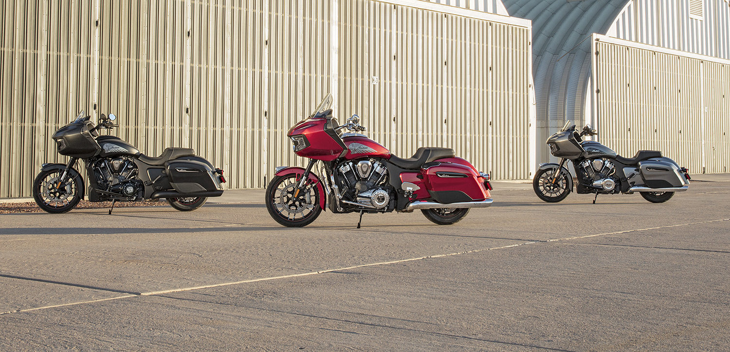 A 2020-model Indian Challenger (right), Indian Challenger Dark Horse (left), and Indian Challenger Limited (center). Photo courtesy of Indian Motorcycle.