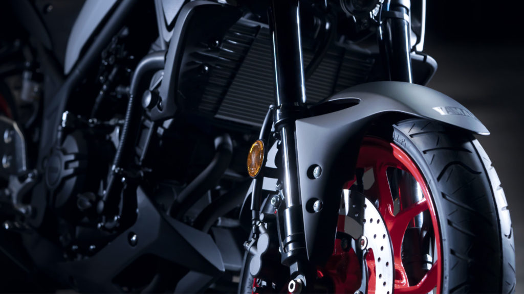 The 2020-model Yamaha MT-03 features inverted 37mm front forks, like the YZF-R3.