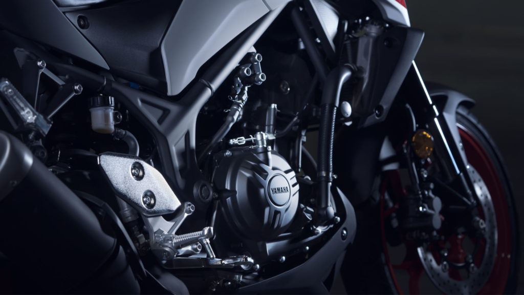 The 2020 Yamaha MT-03 is powered by the same twin-cylinder engine as the YZF-R3.