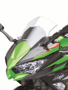 The restyled front cowl of the 2020 Kawasaki Ninja 650.