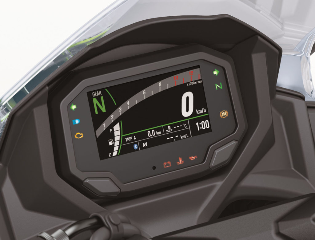 The new TFT dashboard of the 2020 Kawasaki Ninja 650.