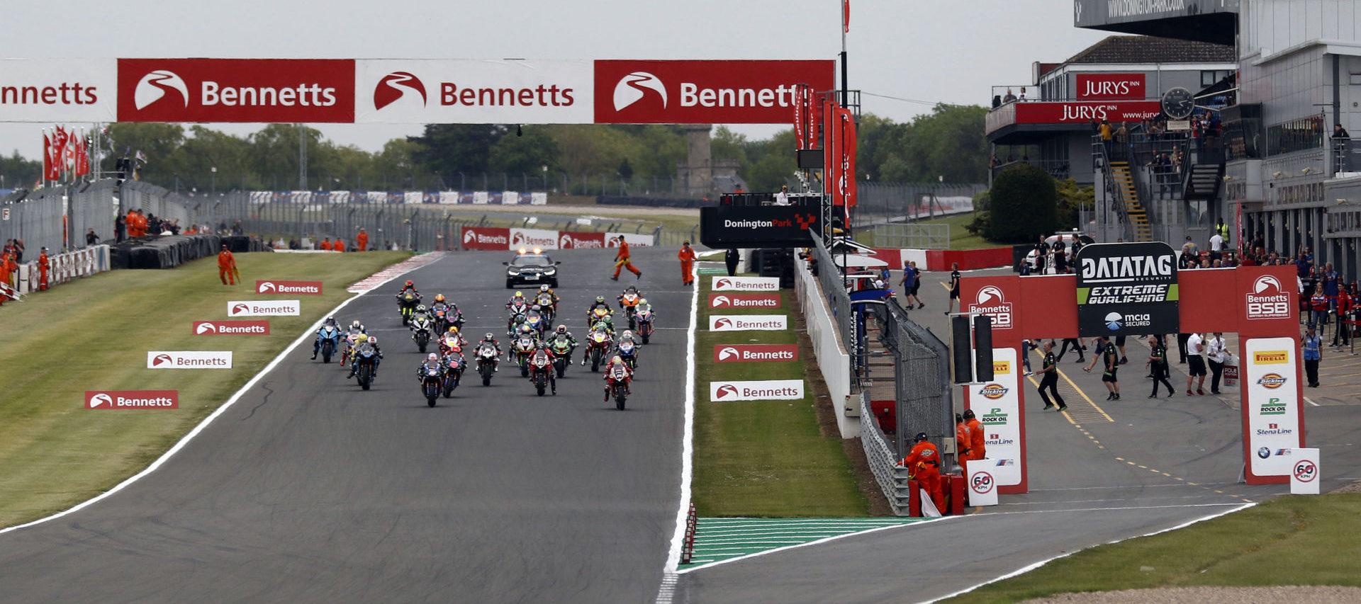 The start of a British Superbike race at Donington Park. Photo courtesy of MotorSport Vision Racing.