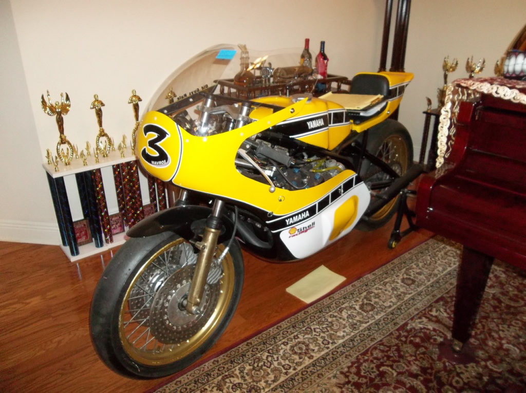 A 1978 Yamaha TZ750 two-stroke racebike owned by the late Charlie Mavros.