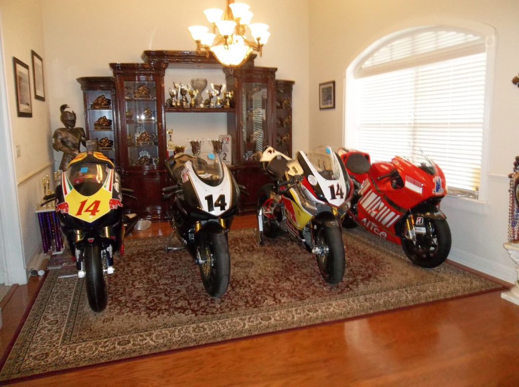 Charlie Mavros kept his favorite personal Ducati-powered racebikes in his house alongside his Ducati Desmosedici RR streetbike (far right), which he turned into a Casey Stoner replica.