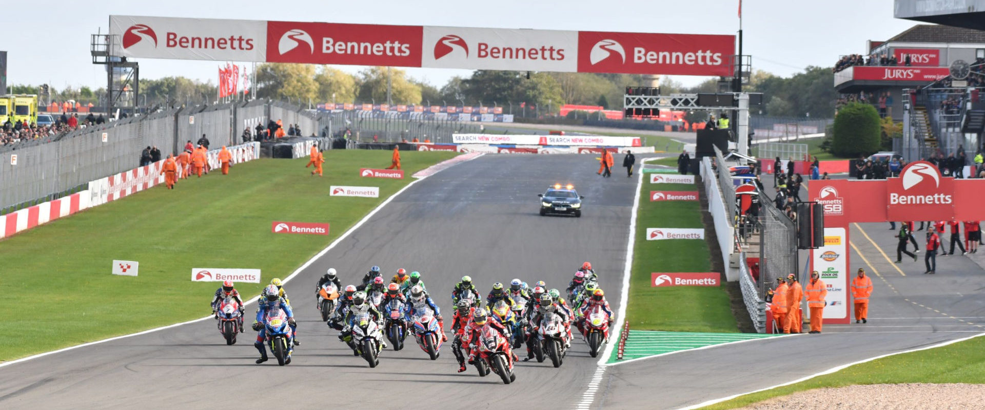 The start of a British Superbike race at Donington Park.