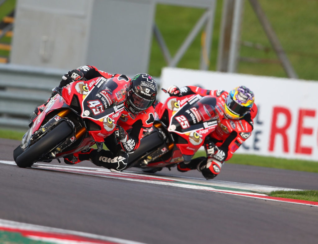 Scott Redding (45) and Josh Brookes (25) in action at Donington Park. Photo courtesy of MotorSport Vision Racing.