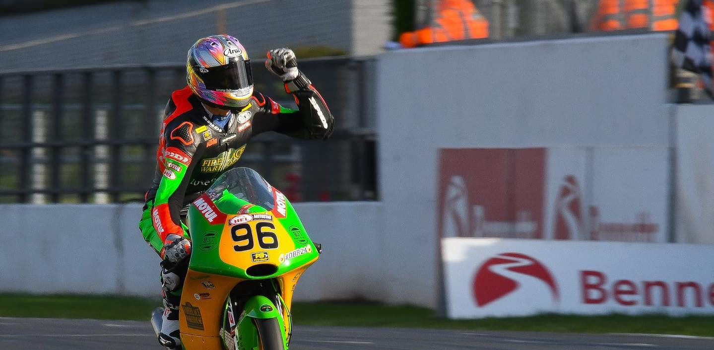 Brandon Paasch (96) celebrating his Race Two victory at Donington Park. Photo courtesy of Brandon Paasch.