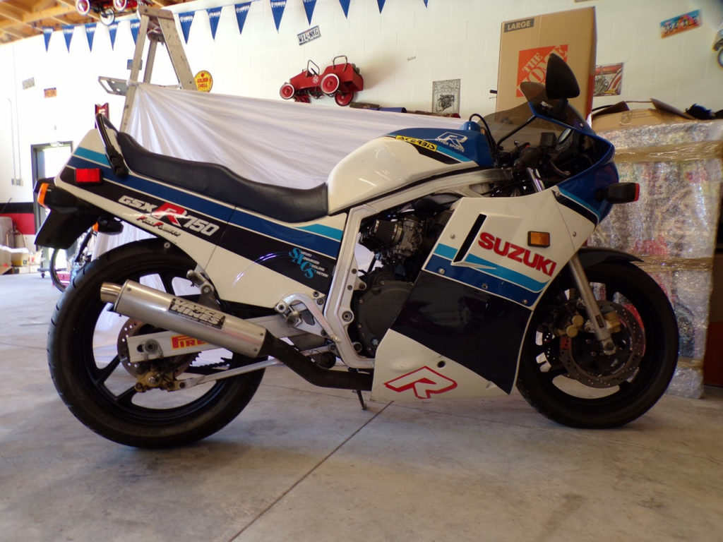 The late Charlie Mavros' collection includes many Suzuki GSX-R sportbikes including many different models, different generations, and in all states of tune from lightly modified originals to racebikes to one-off customs.