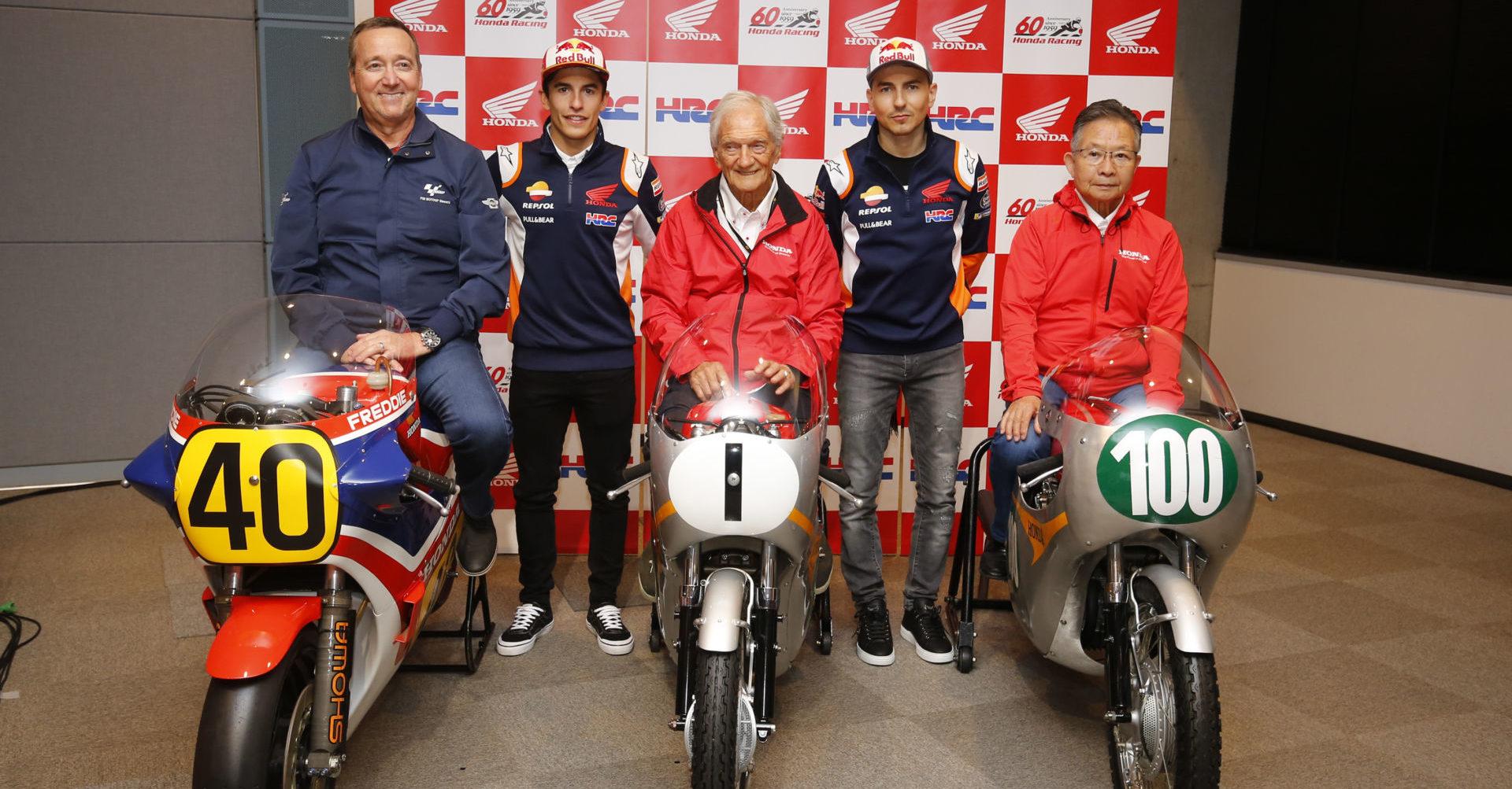(From left) Freddie Spencer, Marc Marquez, Jim Redman, Jorge Lorenzo, and Kunimitsu Takahashi. Photo courtesy of Dorna.