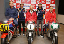 (From left) Freddie Spencer, Marc Marquez, Jim Redman, Jorge Lorenzo, and Kunimitsu Takahashi. Photo courtesy of Dorna.