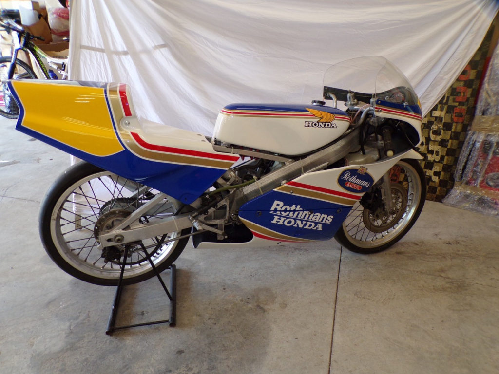 Charlie Mavros' collection includes many Grand Prix racebikes, like this vintage Honda RS125.