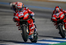 Ducati's Andrea Dovizioso (04) and Danilo Petrucci (9) at speed in Thailand. Photo courtesy of Ducati Corse.
