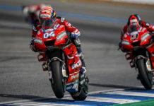 Ducati's Andrea Dovizioso (04) and Danilo Petrucci (9) at speed in Thailand. Photo courtesy of Ducati Corse.
