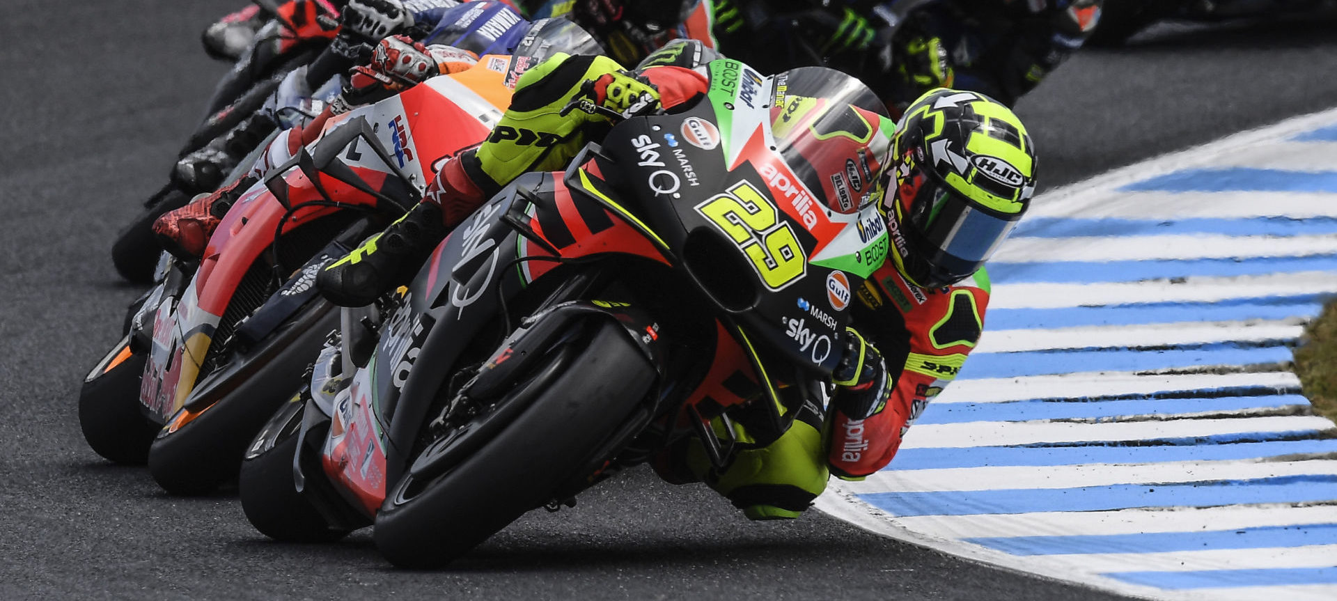 Andrea Iannone (29) leading the MotoGP race at Phillip Island. Photo courtesy of Aprilia Gresini Racing.
