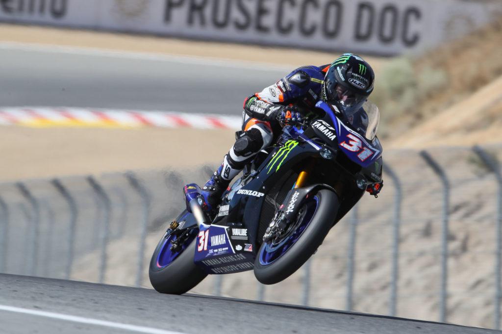 Garrett Gerloff (31) at speed at WeatherTech Raceway Laguna Seca. Photo by Brian J. Nelson.