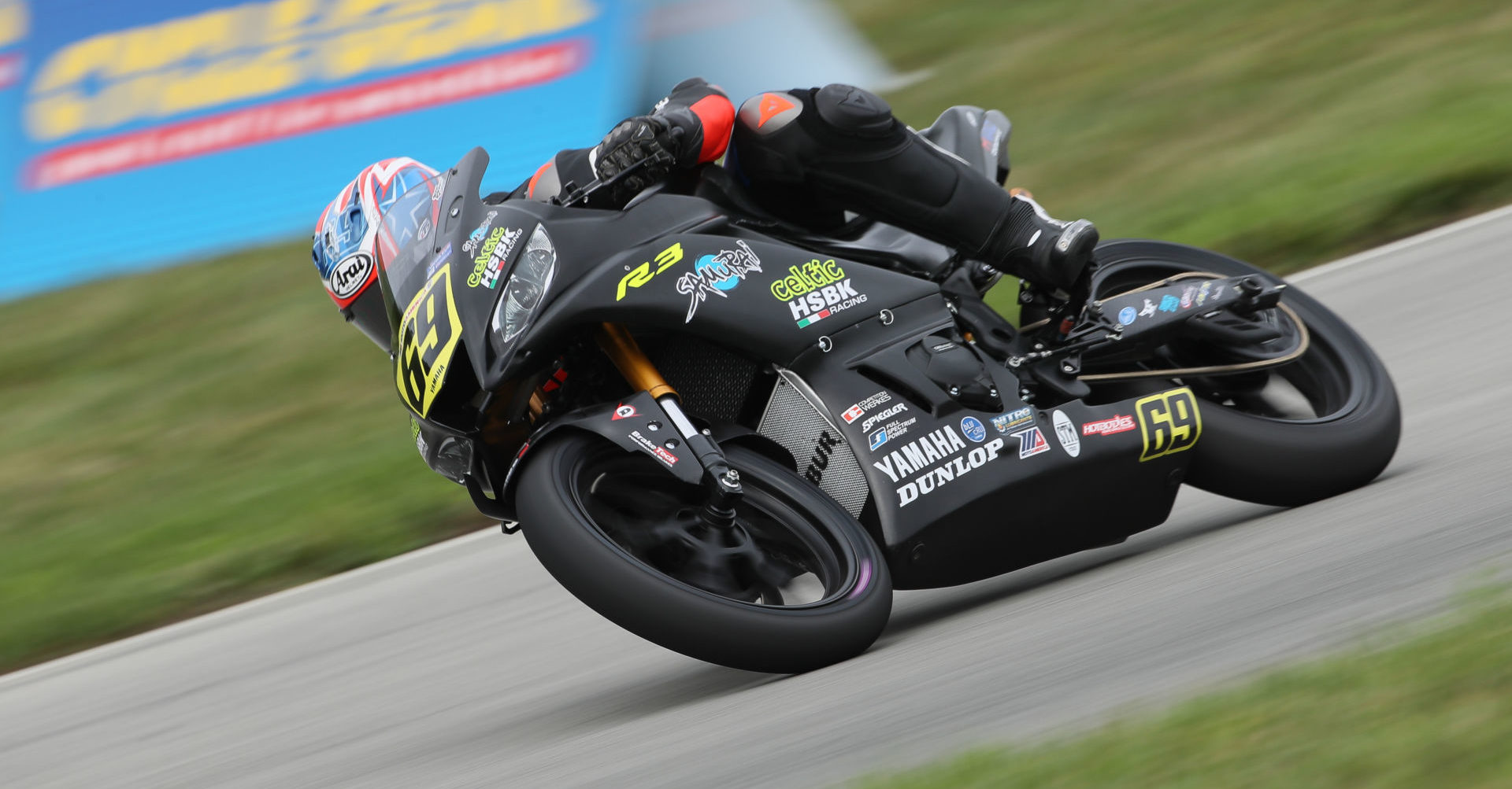 Dallas Daniels (69) in action on a Celtic HSBK Racing Yamaha YZF-R3 during a MotoAmerica Junior Cup race at Pittsburgh International Race Complex. Photo by Brian J. Nelson.