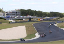 The start of a MotoAmerica Superbike race at the season finale at Barber Motorsports Park. Photo by Brian J. Nelson.