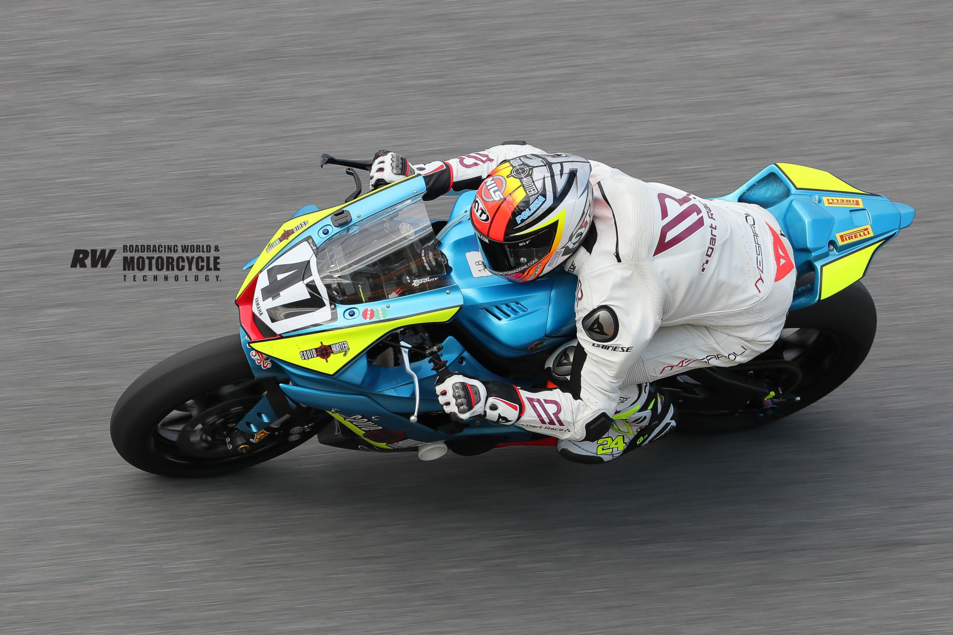 Simone Corsi (47) tucked in on the Squid Hunter Racing Yamaha YZF-R6 on the banking at Daytona International Speedway. Photo by Brian J. Nelson.