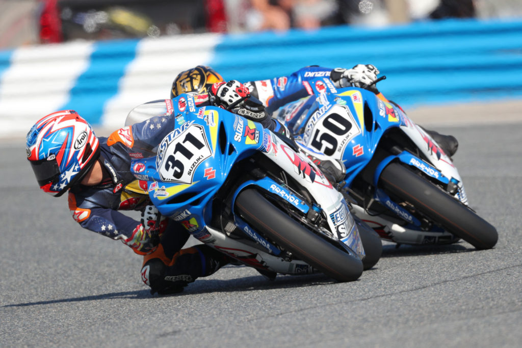 Sean Dylan Kelly (311) leads Bobby Fong (50) during the 2019 Daytona 200. The pair will join Scott Russell as featured instructors at the Team Hammer Advanced Riding School on October 18. Photo by Brian J Nelson.