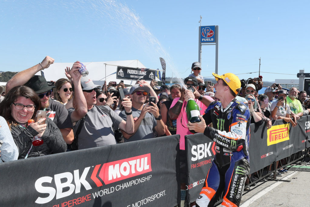 Garrett Gerloff, seen here celebrating at WeatherTech Raceway Laguna Seca, went on to win three more MotoAmerica Superbike races in 2019 and he could have won more had it not been for mechanical DNFs and him helping his teammate Cameron Beaubier secure the 2019 MotoAmerica Superbike Championship at the season finale. Photo by Brian J. Nelson.
