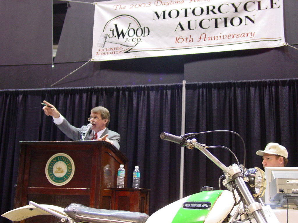 Racer and auctioneer Jerry Wood in action at one of his J. Wood Company motorcycle auctions, which he has held annually during Daytona Bike Week.