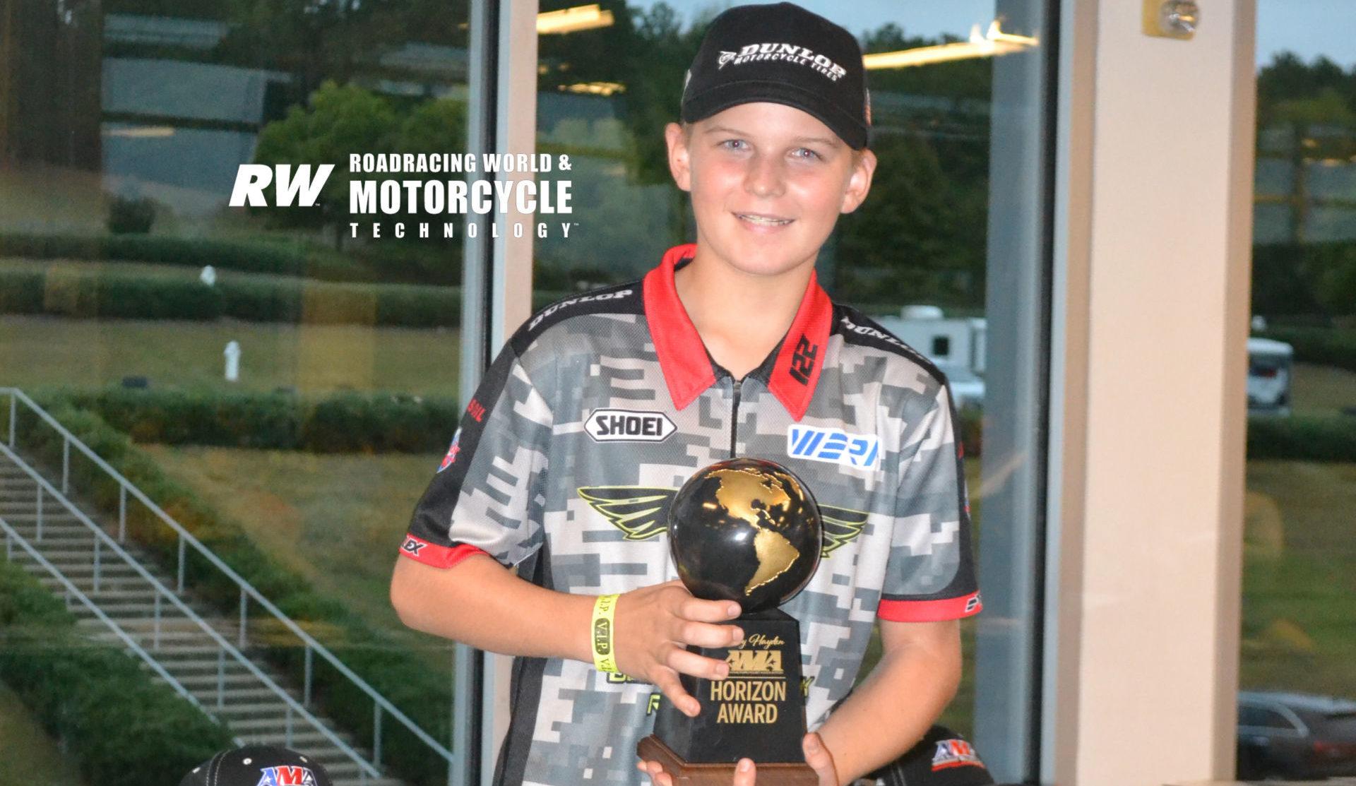 Blake Davis, the 2019 Nicky Hayden AMA Road Race Horizon Award winner. Photo by David Swarts.