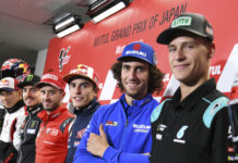 MotoGP riders (from left) Takaaki Nakagami, Maverick Vinales, Andrea Dovizioso, Marc Marquez, Alex Rins, and Fabio Quartararo at the pre-event press conference. Photo courtesy of Dorna/www.motogp.com.
