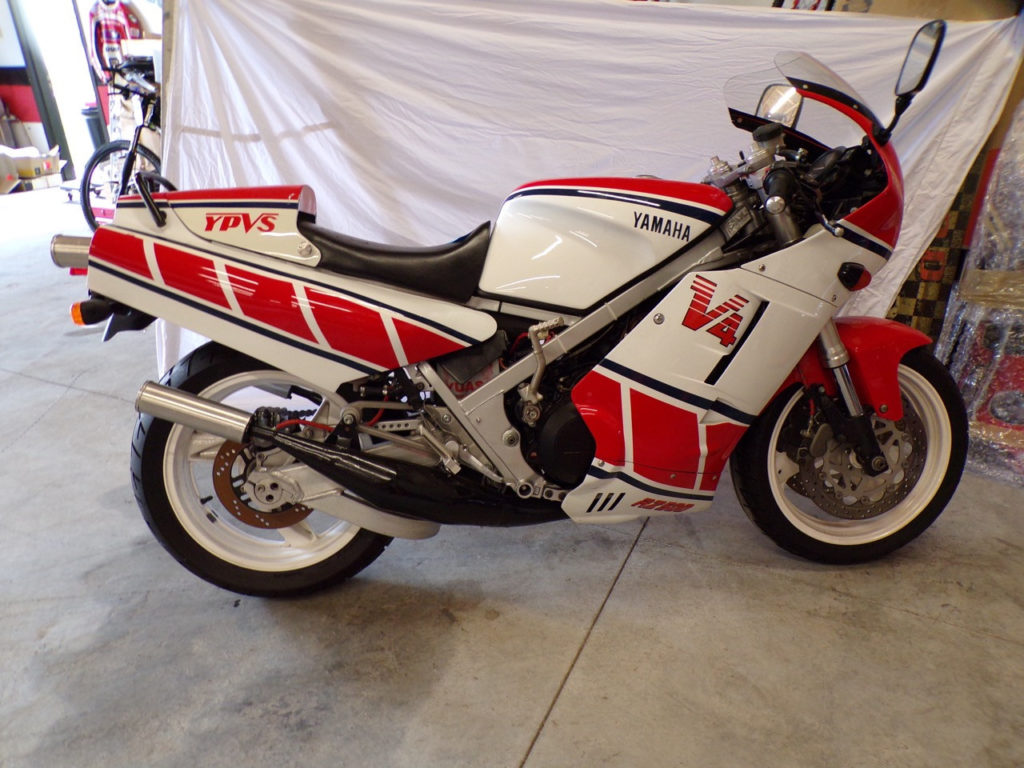 A modified 1980s Yamaha RZ500 V4 two-stroke steetbike is far from the most rare or exotic motorcycle in the collection.