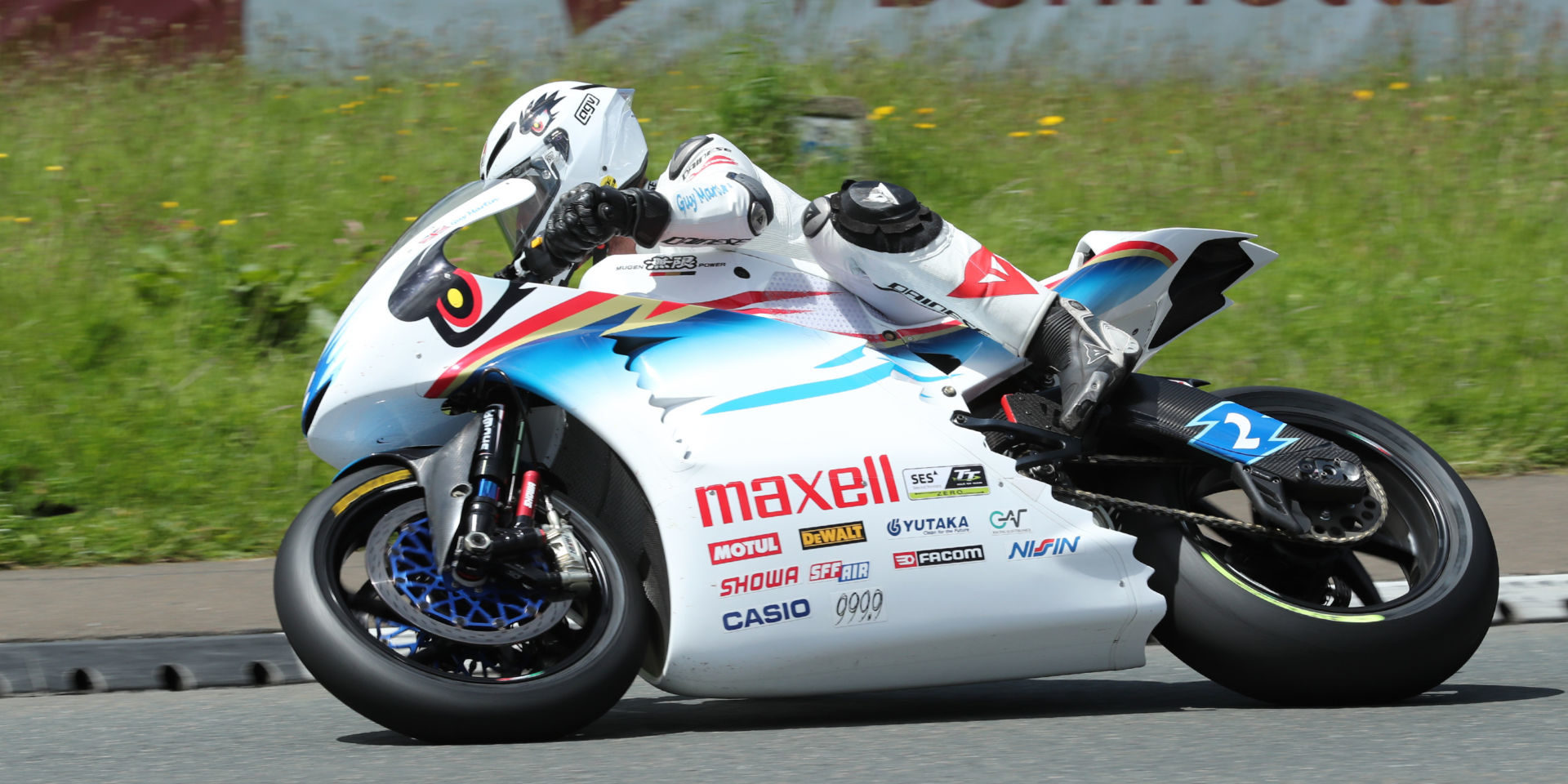 Guy Martin (2) on a TT Zero electric racebike at the Isle of Man in 2017. Photo courtesy of IOMTT Press Office.