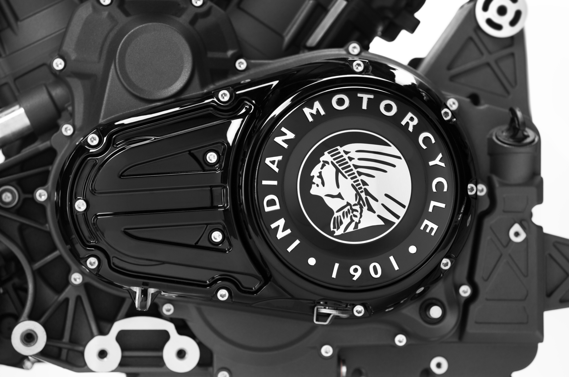 The case cover of Indian Motorcycle's new PowerPlus V-Twin engine. Photo courtesy of Indian Motorcycle.