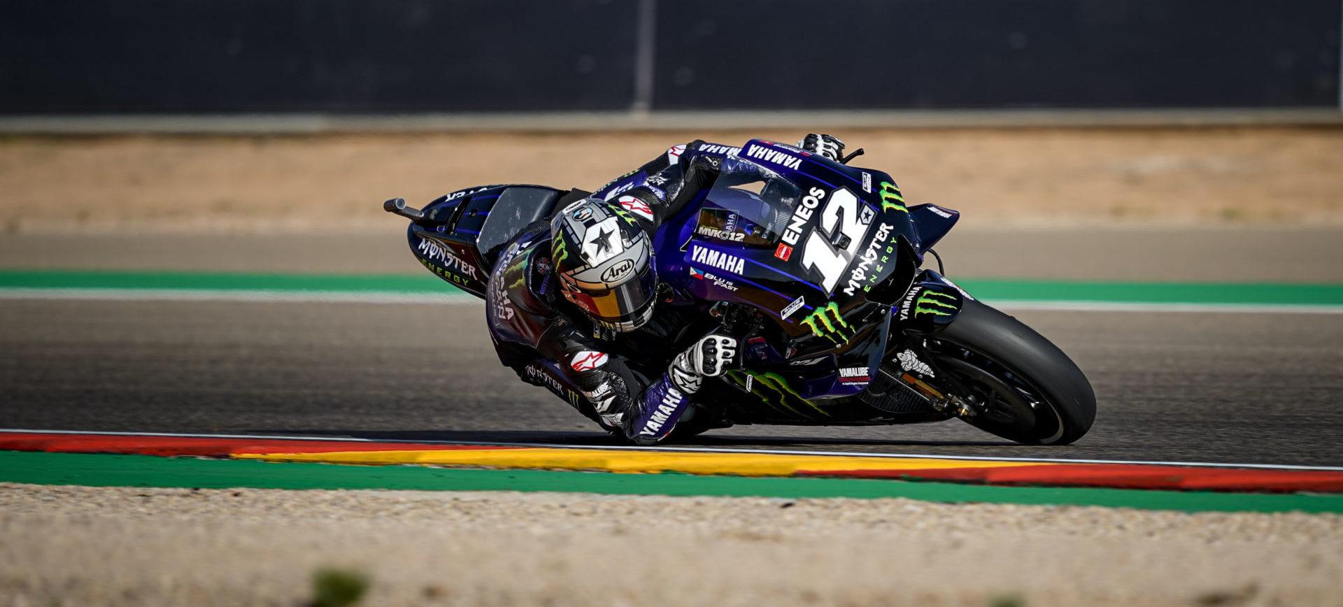 Maverick Vinales (12) at Motorland Aragon. Photo courtesy of Yamaha.