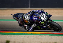 Maverick Vinales (12) at Motorland Aragon. Photo courtesy of Yamaha.
