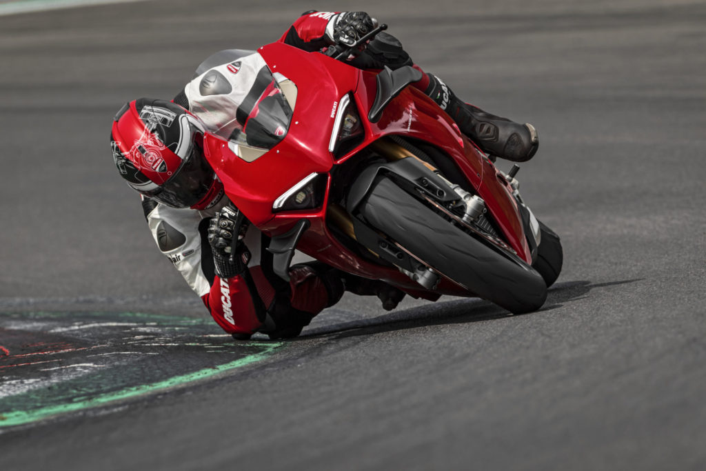 A new, 2020-model Ducati Panigale V4 at speed. Photo courtesy of Ducati.