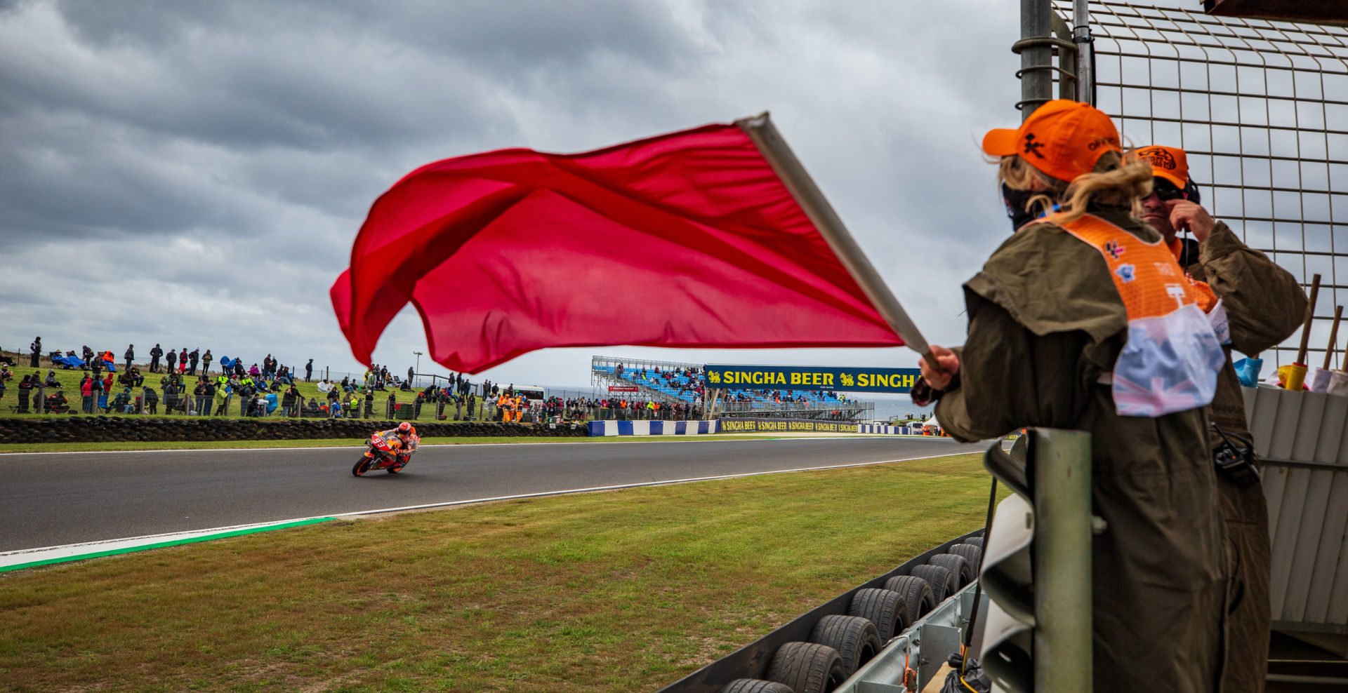 Marc Marquez (93) receives the red flag during FP4 at Phillip Island. Photo courtesy of Repsol Honda.