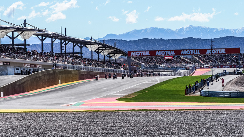 The start of a World Superbike race at Argentina in 2018. Photo courtesy of Dorna WorldSBK Press Office.