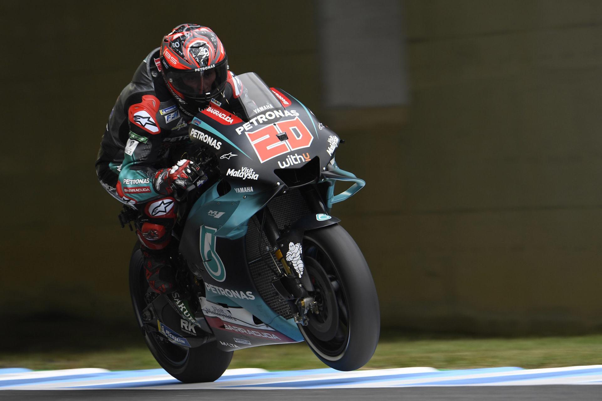 Fabio Quartararo (20) in action at Motegi. Photo courtesy of PETRONAS Yamaha Sepang Racing Team.